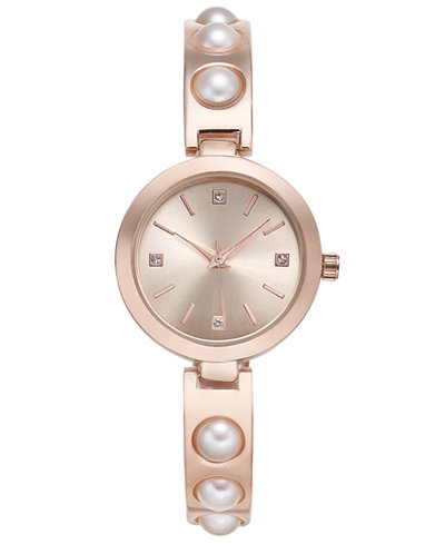 Charter Club Women's Rose Gold-Tone Imitation Pearl Bracelet Watch 29mm, Created for Macy's
