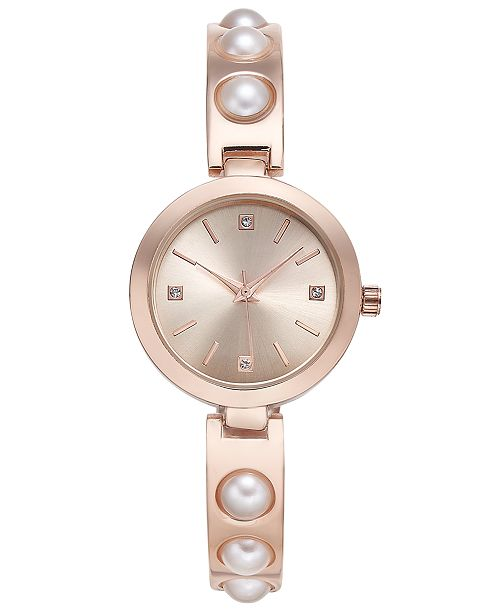 Women's Rose Gold-Tone Imitation Pearl Bracelet Watch 29mm, Created for Macy's