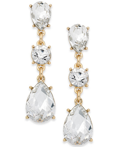 Charter Club Gold-Tone Crystal Triple Drop Earrings, Created for Macy's