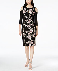 JAX Cold-Shoulder Floral Embroidered Sheath Dress