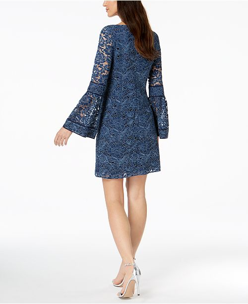 c70e0a6fa0df Laundry by Shelli Segal Lace Bell-Sleeve Shift Dress & Reviews ...