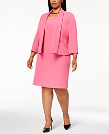 Kasper Plus Size Shawl-Collar Blazer & Sheath Dress