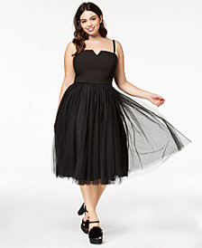 City Chic Trendy Plus Size Strapless Tulle Dress