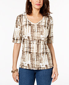 Karen Scott Petite Abstract Plaid-Print Top, Created for Macy's