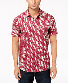 Tallia Men's Modern-Fit Wine Floral-Print Dress Shirt