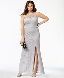 City Studios Trendy Plus Size Lace Illusion Gown