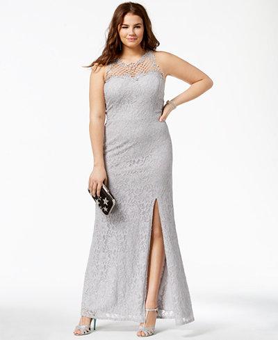 City Studios Trendy Plus Size Lace Illusion Gown