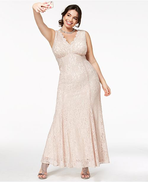 Morgan & Company Trendy Plus Size Glitter-Lace Gown & Reviews ...