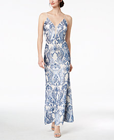 Betsy & Adam Damask-Sequined Gown