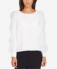 Tahari ASL Ruffled-Sleeve Top