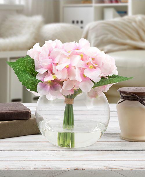 "Trademark Global Pure Garden Pink Hydrangea Floral Arrangement with Vase, 7.5"" x 5.25"" x 5.25"""