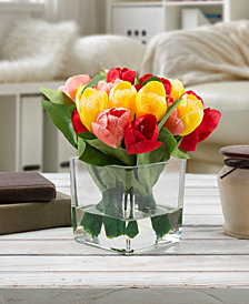 Pure Garden Multicolored Tulip Floral Arrangement with Vase
