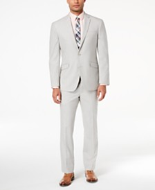 Kenneth Cole Reaction Men's Techni-Cole Big and Tall Slim-Fit Stretch Light Gray Suit