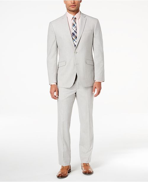 Kenneth Cole Reaction Men's Ready Flex Big and Tall Slim-Fit Stretch Light Gray Suit