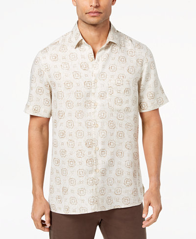 Tasso Elba Island Men's Medallion-Print Shirt, Created for Macy's
