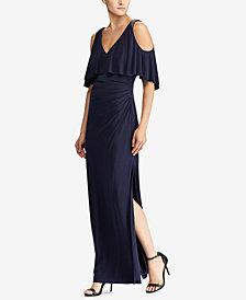 Lauren Ralph Lauren Beaded-Strap Cold-Shoulder Gown