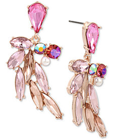 Betsey Johnson Rose Gold-Tone Multi-Stone & Imitation Pearl Feather Drop Earrings