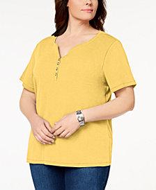 Karen Scott Plus Size Cotton Henley T-Shirt, Created for Macy's