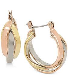 Kenneth Cole New York Tri-Tone Twisted Triple-Hoop Earrings