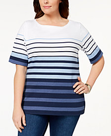 Karen Scott Plus Size Cotton Striped Cuffed-Sleeve Top, Created for Macy's