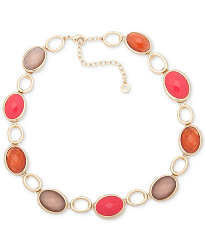 Anne Klein Gold-Tone Colored Stone Collar Necklace