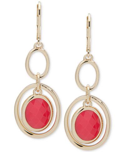 Anne Klein Gold-Tone Red Stone Orbital Drop Earrings