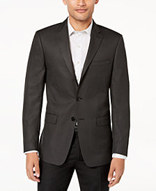 Calvin Klein Men's Slim-Fit Charcoal/Black Neat Textured Sport Coat