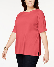 Karen Scott Plus Size Cotton Cuffed-Sleeve Top, Created for Macy's