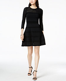 Vince Camuto Perforated Fit & Flare Dress