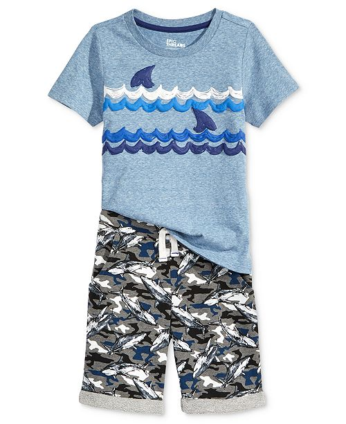Epic Threads Shark-Print T-Shirt & Shorts Separates, Little Boys, Created for Macy's