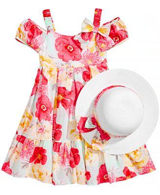 Bonnie Jean 2-Pc. Floral-Print Dress & Hat Set, Little Girls