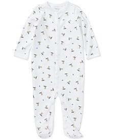 폴로 랄프로렌 남아용 우주복 Polo Ralph Lauren Ralph Lauren Baby Boys Printed Cotton Coverall,White/Blue Multi