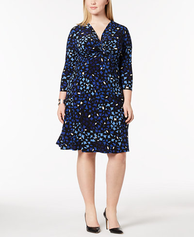 Anne Klein Plus Size Printed Twist-Front Dress
