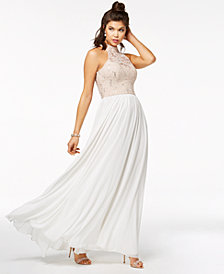 Speechless Juniors' Strappy-Back Embellished Gown, Created for Macy's