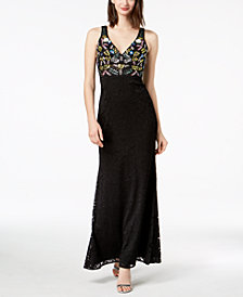 Betsy & Adam Multi-Beaded Lace Gown