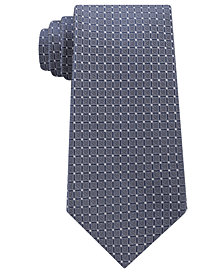 Calvin Klein Men's Simple Grid Silk Tie