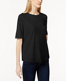 Eileen Fisher SYSTEM Organic Cotton Crew-Neck T-Shirt, Regular & Petite