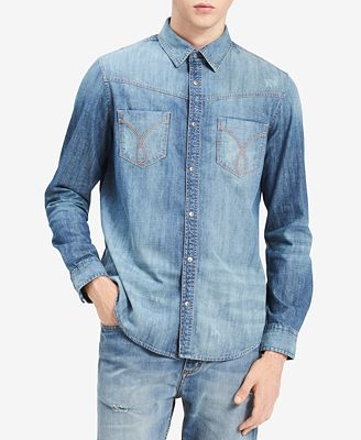 Calvin Klein Jeans Men's Omega Distressed Denim Shirt