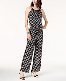 I.N.C. Printed Peasant Jumpsuit, Created for Macy's