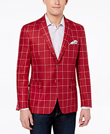 Tallia Orange Men's Big & Tall Modern-Fit Red Windowpane Sport Coat