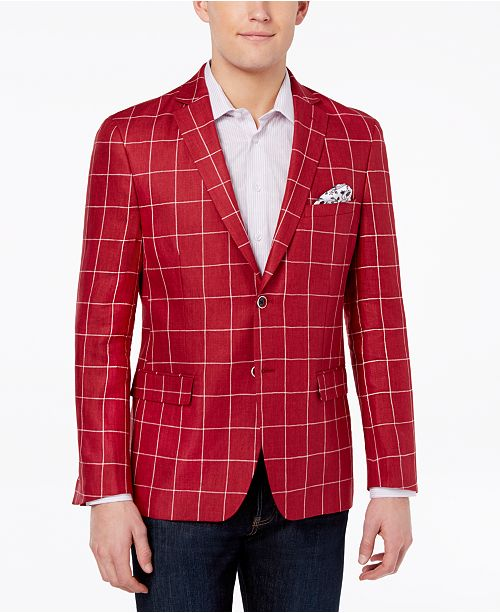 tallia orange men s modern fit red windowpane sport coat blazers