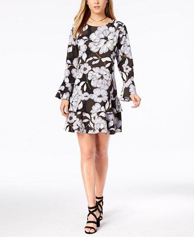 Bar III Floral-Print Tiered-Hem Dress, Created for Macy's