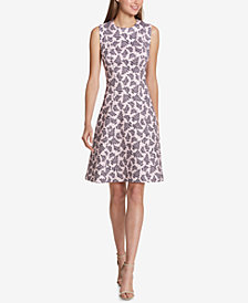 Tommy Hilfiger Printed Scuba Fit & Flare Dress