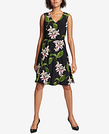 Tommy Hilfiger Floral-Printed Belted Fit & Flare Dress