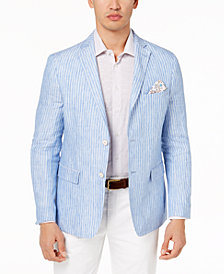 Tallia Orange Men's Big & Tall Modern-Fit Blue Stripe Sport Coat