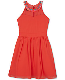 BCX Beaded-Neck Dress, Big Girls