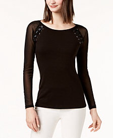 I.N.C. Petite Illusion-Sleeve Lace-Up Top, Created for Macy's