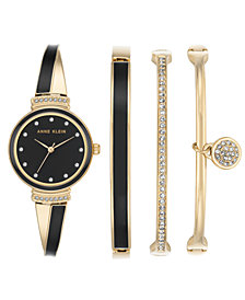 Anne Klein Women's Gold-Tone Bangle Bracelet Watch 26mm Gift Set