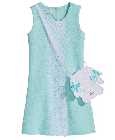Bonnie Jean 2-Pc. Lace-Trim Shift Dress & Lamb Purse Set, Little Girls