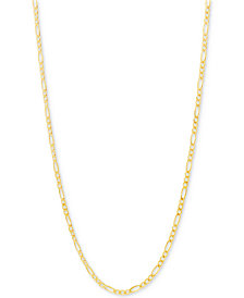 "Italian Gold Figaro Link Chain 22"" Necklace in 10k Gold"